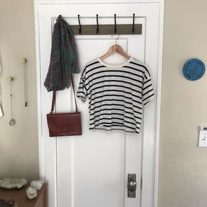 Madewell Striped Black & White Crop Tee T-Shirt XS